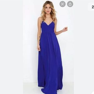 Lulu's on the silver screen Royal blue maxi dress